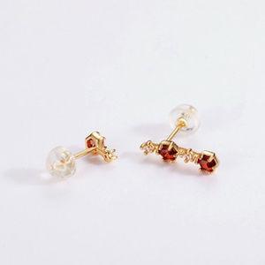 Penfine Jewelry - 3mm Hexagon Topaz/Garnet/Crystal Silver Earrings